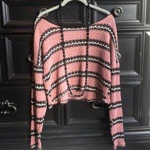 Rubbish Crop top long sleeve mauve crochet